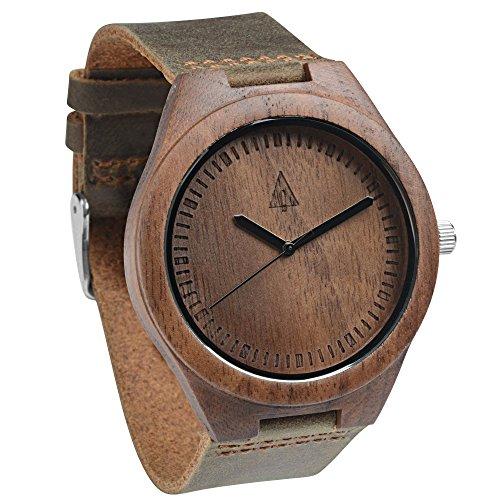 Treehut Men's Chocolate Walnut Wooden Watch with Genuine Brown Leather Strap