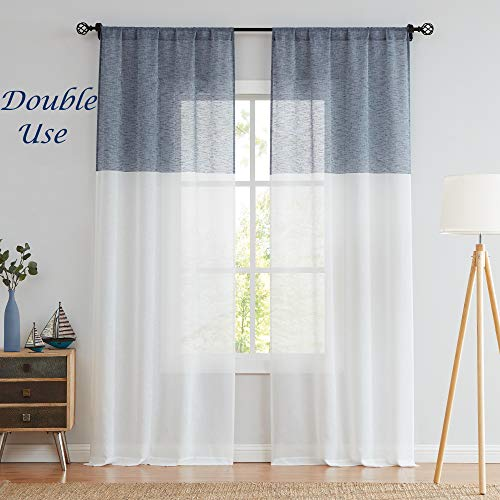 Central Park Navy and White Stripe Sheer Color Block Window Curtain Panel Linen Drape Treatment for Bedroom Living Room Farmhouse 95 inches Long with Rod Pocket,2 Panel Rustic Living Panels
