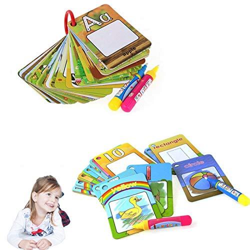 Kuiji 52 x Wasserfarbenkarten, Alphabet-Malkarten, Zahlenzählung, Kritzeleiform, Lernbuch, Früherziehungsspielzeug.