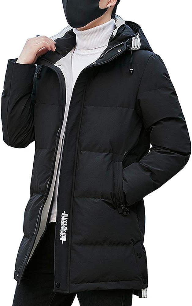Down Jacket Men's Medium Long Winter Coat in Cotton Jacket, Warm Thicken Hooded, Padding: Imitation Silk Cotton (Size: M, L, XL, 2XL, 3XL, 4XL) Black