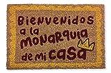 KOKO DOORMATS felpudos Entrada casa Originales y Divertidos, Felpudo Coco y PVC, Felpudo Original Bienvenidos a la Monarquía de mi casa, 40x60x1.5 cm | Felpudo Entrada casa Exterior