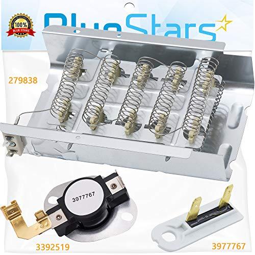 279838 Elemento de calefacción para secadora 3977767 3392519 Kit completo de reparación de secador por Blue Stars – Ajuste exacto para secadores Whirlpool Kenmore Maytag...
