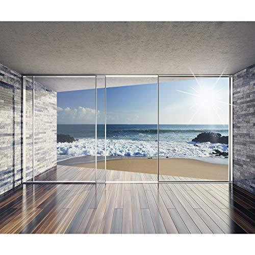 decomonkey Fototapete Fenster zum Meer Strand 350x256 cm XXL Design Tapete Fototapeten Vlies Tapeten Vliestapete Wandtapete moderne Wand Schlafzimmer Wohnzimmer Landschaft