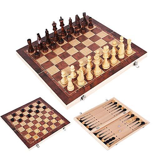 ZXC Home 3 in 1 aus Holz Schach Backgammon Checkers Reisen Spiele Schachspiel Brett Drafts Unterhaltung I64 (Color : 24x24cm)