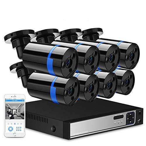 Cámara 8ch Vigilancia PoE NVR Kit H.265 3MP Alerta de Movimiento P2P Sistema de Seguridad con 8pcs IR Cámara IP al Aire Libre PoE 3MP / 2MP 48V Vigilancia (Build-in HDD : 2T, Color : 2MP 1080P)