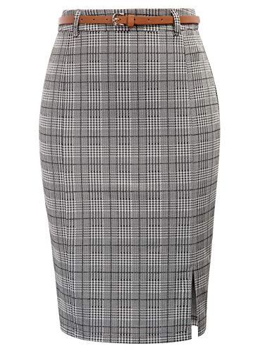 Kate Kasin Women's Grid Stretchy Business Pencil Skirt for Office Wear Grey, Size S