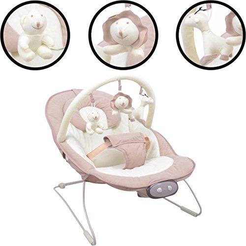 Babywippe/Babywiege/Babyschaukel (Inklusive Spielbogen mit 3 Figuren) + Vibrationsfunktion & Musikfunktion (12 Melodien) (HONEY MILK)