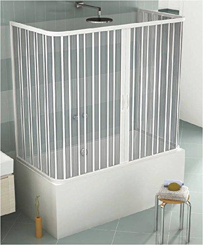 GRANISUD Cabine pour Baignoire en PVC à Trois côtés et à Ouverture Centrale, Dimension: 70 x 140 x 70 cm, H 150 cm