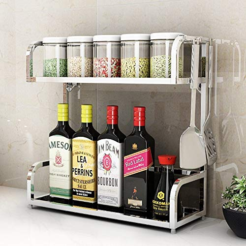 DAHAI 2-Tier Kitchen Spice Rack,Stainless Steel,Storage Organizer Shelf Holder,Spice Jars Bottle Stand Holder,For Wall Hanging Bathroom Shelves Racks(Silver)