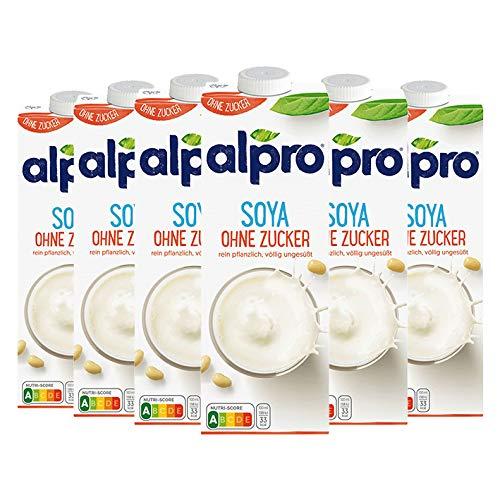 Alpro Soya Drink ungesüßt, ohne Zuckerzusatz, 100 % pflanzlich - 1L - 6x