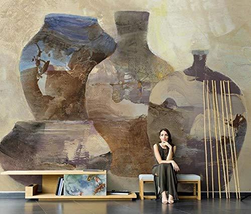 HUATULAI Muurschildering 3D Behang Vintage Klei Pot Aardewerk Vaas Olieverfschilderij Behang Woonkamer Fresco Tv Achtergrond Naadloos Mural Papel De Parede 300 * 210cm/W*h