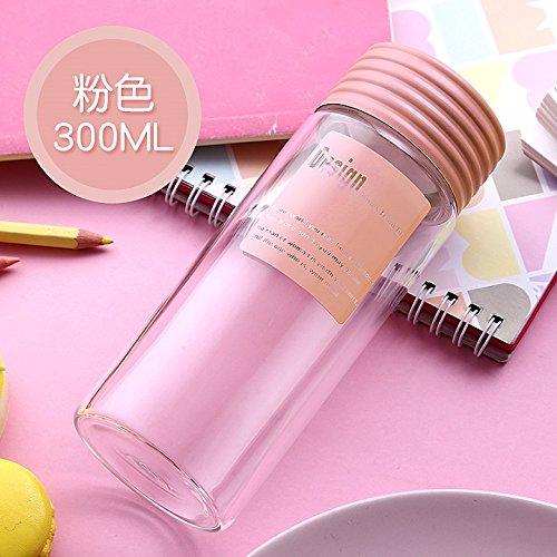 One is All - Botella de agua de cristal, respetuosa con el medio ambiente, botella de agua con tapa, regalo de bebida directa, vaso a prueba de fugas, colorido, senderismo, rosa: Amazon.es: