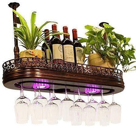 Estantería de vino Vino Bastidores lámpara multifuncional, con un marco de apoyo de pluma ajustable taza ajustable, una serie de barra de almacenamiento de almacenamiento, bronce estante de vi