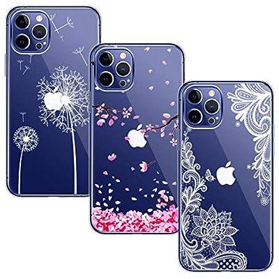 Yoowei [3-Pack] Funda para iPhone 12 Pro MAX, Transparente con Dibujos Ultra Fino Suave TPU Silicona Protector Carcasa para iPhone 12 Pro MAX(Flor de Cerezo + Flor Blanca + Diente de León)