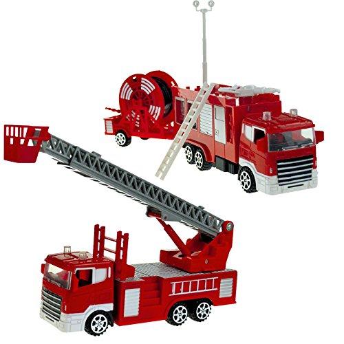 #11 Feuerwehrstation inklusive 2 Autos und 1 Schlauchwagen - Feuerwehr Kinder Spielzeug Feuerwehrauto Rettungswagen Lösch Fahrzeug Auto Set