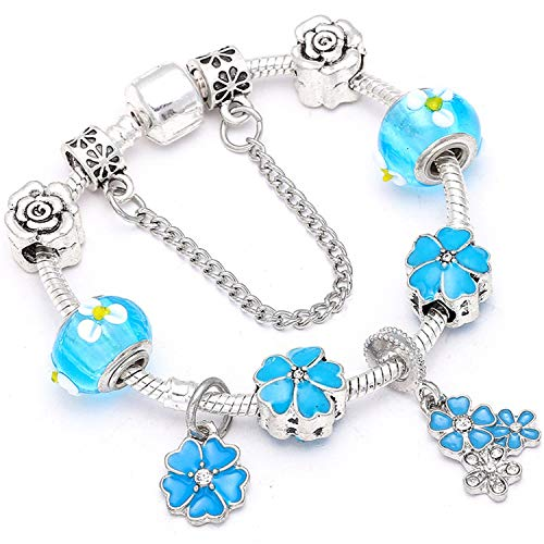 Pulsera Brazalete, Joyeria Regalo, Vintage Silver Plated Crystal Fine Bracelet For Wome Fit Snake Chain Charm Bracelet DIY Jewelry Gift C011 20cm