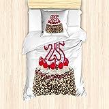 ABAKUHAUS 25 cumpleaños Funda Nórdica, El Chocolate Tarta de Cerezas, Decorativo, 2 Piezas con 1 Funda de Almohada, 135 x 200 cm, Rojo Crema Brown