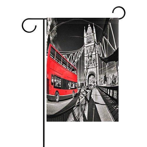Axige888 Beroemde Toren Brug met Rode Bus Londen Tuin Vintage Cityscape Engeland 12x18 Inch Polyester Outdoor Vlag Thuis Feest