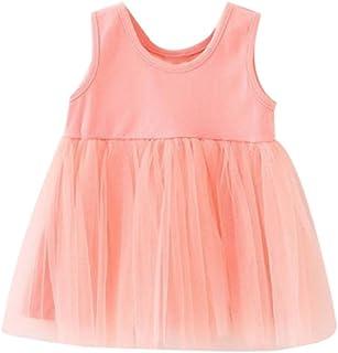 Lemcos 子供 ワンピース 無地 ノースリーブ コットン レース Oネック 子どもドレス 女 可愛い スカート 子供服 女の子用 春衣装 女児 ピンク