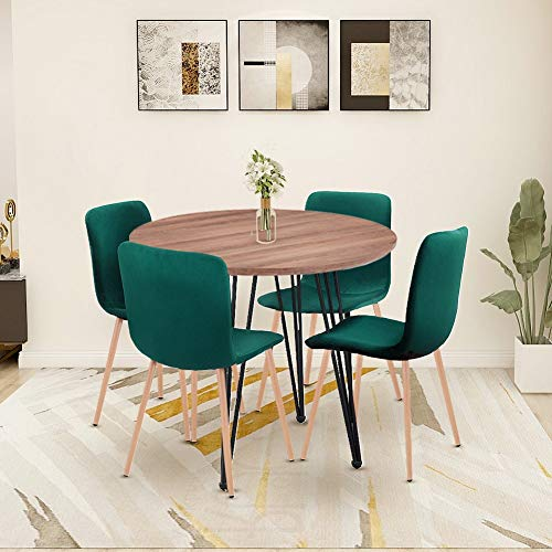 GOLDFAN Modern Dining Table and 4 Chair Set Round Wood Table and Soft Green Velvet Chairs with Metal Legs