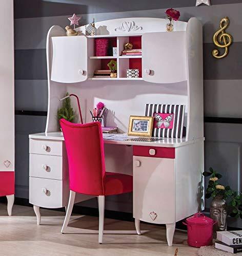 Froschkönig24 Cilek Yakut Schreibtisch Kinderschreibtisch Kinderzimmer Weiß/Pink