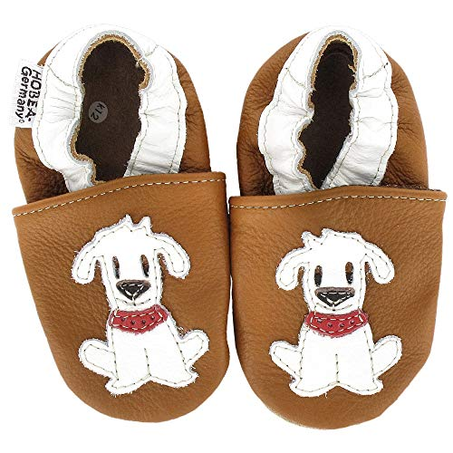 HOBEA-Germany Krabbelschuhe Babyschuhe mit Tieren, Modell Schuhe:Hund Fiffi, Schuhgröße:22/23 (18-24 Monate)
