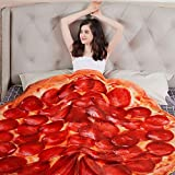 LAGHCAT Pizza Throw Blanket for Adults and Kids, Novelty Giant Human Blankets, 80 Inches Soft Comfortable and Funny Flannel Pizza Blanket.(Red, 80 inches)