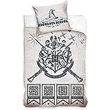 BERONAGE Harry Potter - Juego de cama reversible School 135 x 200 + 80 x 80 cm, 100% algodón renforcé, calidad Gryffindor Slytherin Hufflepuff Ravenclaw HP Hogwarts con cremallera, tamaño alemán 272