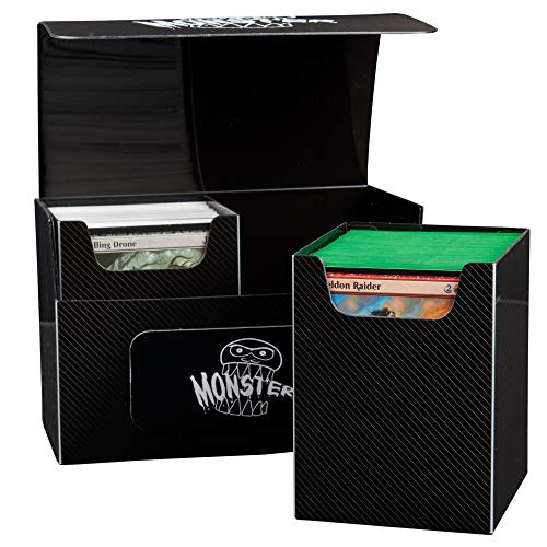 Extra Large Magnetic Deck Box - MTG Commander Big Case - Two XL Removable Compartments Hold 200 Double Sleeved Magic Game Cards