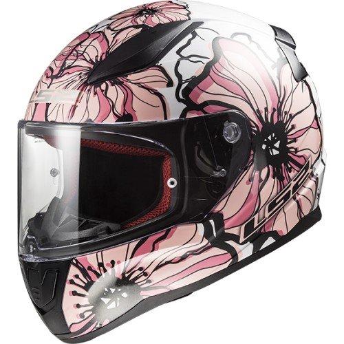 LS2 Cascos de motocicleta Rapid Poppies, blanco/rosa, talla XS