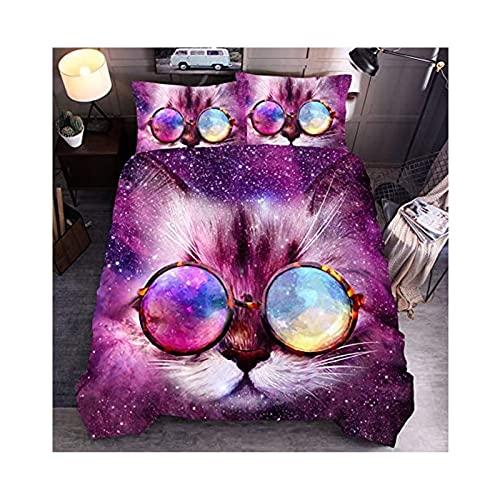 Funda Nórdica y Fundas de Almohada con Gato de Dibujos Animados para Mascotas (Elija 2/3 Piezas) para Hecho de Microfibra Ultra Suave,A-King:240×220cm