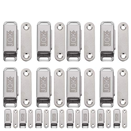 JQK Magnetic Door Catch, Magnet Latch Cabinet Catches for Cabinets Shutter Closet Furniture Door, Stainless Steel 15 lbs Silver (16 Pack), CC100-P16