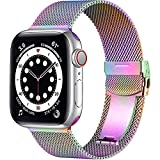 Muranne Compatible with Apple Watch Band 40mm 38mm for Women Men, Elegant Stainless Steel Mesh Loop Sport Metal Wristband Compatible with iWatch SE Series 6 5 4 3 2 1, 38mm/40mm Colorful