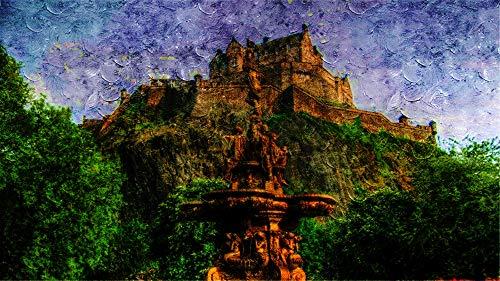 WAZHCY Malen nach Zahlen für Erwachsene DIY Edinburgh Castle Schottland Brunnen Geschenk für Freund Kid 40X50CM Ohne Rahmen