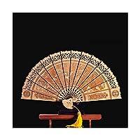 22cm Thuja木製ファンマスコット装飾品折りたたみファンウッド彫刻風水工芸品コレクションラッキーギフト家の装飾 (色 : A)
