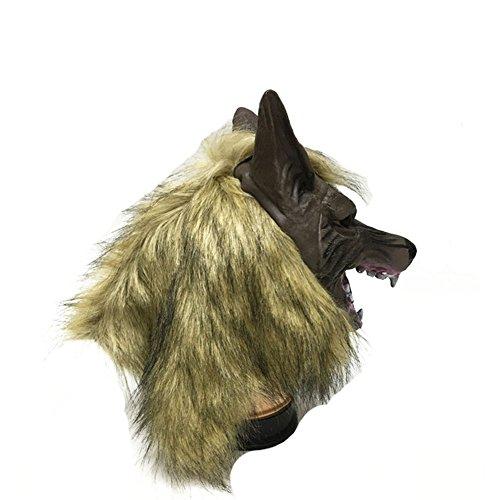 Monbedos Máscara de cabeza de lobo de látex, máscara de cabeza de lobo, máscara para Halloween, cosplay, disfraz, disfraz, tamaño 28 cm x 19 cm