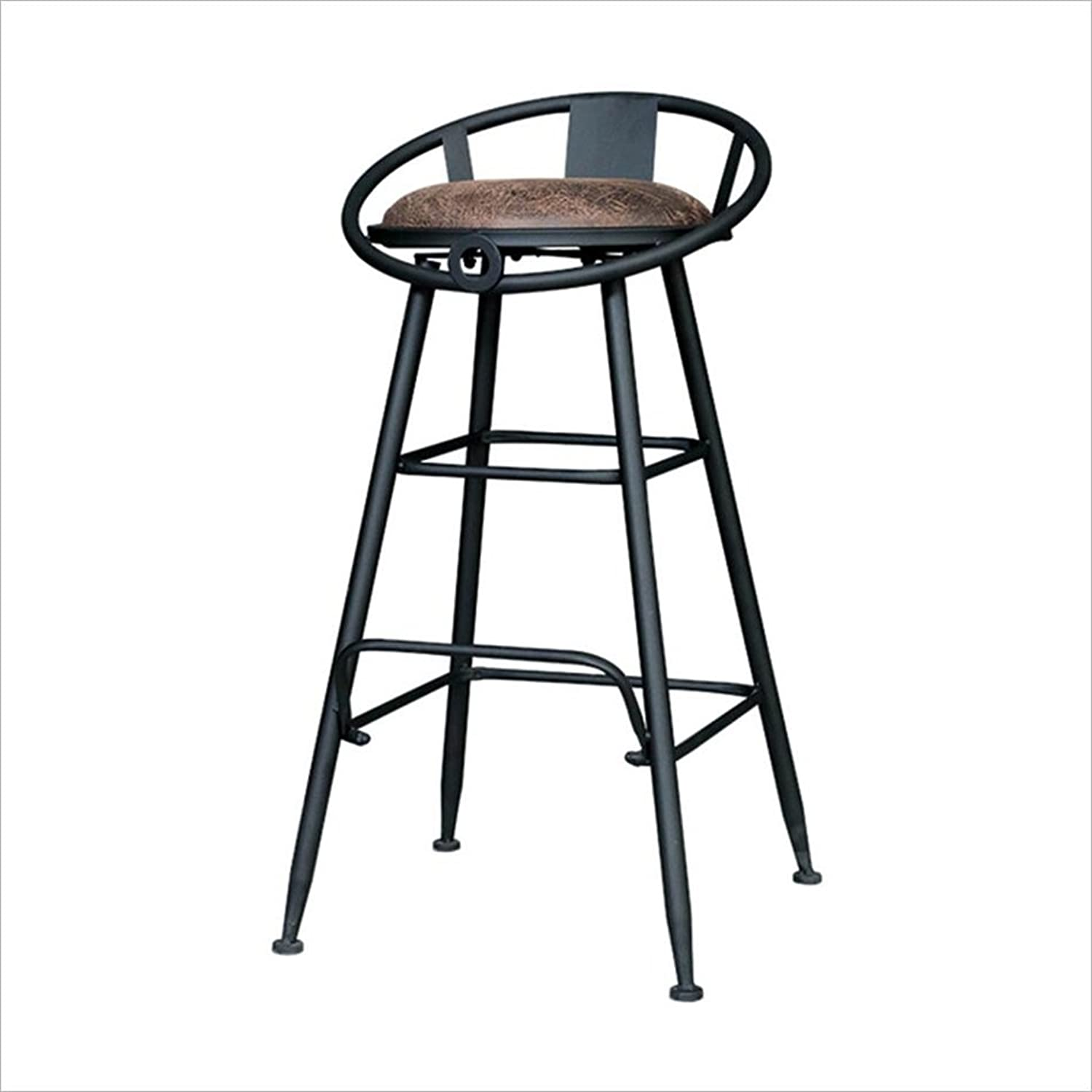 Bar Chairs, Iron Chair Lounge Chair Round Stool High Stool Dining Chair Retro Style 464674Cm
