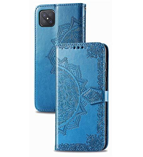 JIAFEI Passend für Oppo Reno 4Z (5G) Hülle, Schönes Muster Geprägtem Brieftasche Lederhülle Flip Schutzhülle, Blau