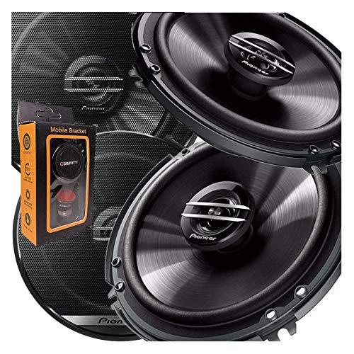 2 Pairs of Pioneer 6-1/2' 6.5' 2-Way 300 Watt Coaxial Car Audio Speakers | TS-G1620F (4 Speakers) + Gravity Magnet Phone Holder