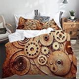 LASINSU Funda De Edredón,Detalles de los Relojes mecánicos Viejo Aspecto Oxidado Engranajes de Fondo Diseño Steampunk,3 Pcs Ropa de Cama Funda Nórdica Sábana Bajera (240 * 260CM)