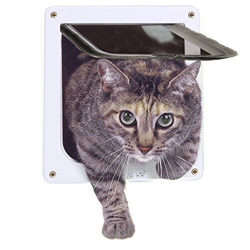 Lufei Cat Door 4-Way Locking Pet Door for Interior Doors Exterior Doors with Opening Size 7.5' x 7.8' for Medium Small Cats & Kid Dog