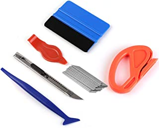 Car Vinyl Wrap Tool kit Including Felt Squeegee,Edge trimmer,MIni Soft Corner Squeegee,Retractable Kinfe and 10pcs Kinfe Blades for Installing Auto wraps and Car Stickers (kit1)