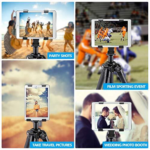 IPOW iPad Tripod Mount Adapter Universal Tablet Clamp Holder Fits Ipad, Ipad Air, Ipad Mini, Microsoft Surface, Nexus and Most Tablets, Use on Tripod, Monopod, Selfie Stick, Tabletop Tripod Stand Etc