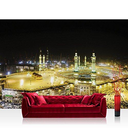 Fototapete 368x254 cm PREMIUM Wand Foto Tapete Wand Bild Papiertapete - Gemälde Tapete Moschee Mekka Lightning Ölfarben gelb - no. 1533