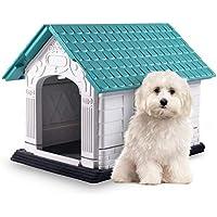 Nobleza - Caseta para Perros de Polipropileno Impermeable con tejado a Dos Aguas para Interior y Exterior. Blanco y Verde 72x57x57.6cm