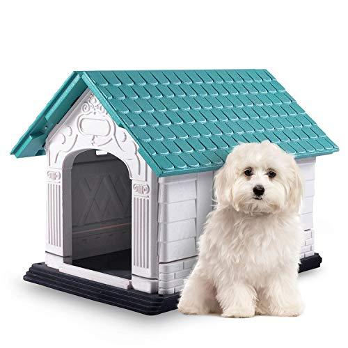 Nobleza - Caseta para Perros de Polipropileno Impermeable con tejado a Dos Aguas para Interior y Exterior. Blanco y Verd