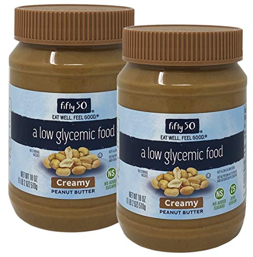 Fifty 50 Low Glycemic Creamy Peanut Butter, 18 oz (Pack of 2)