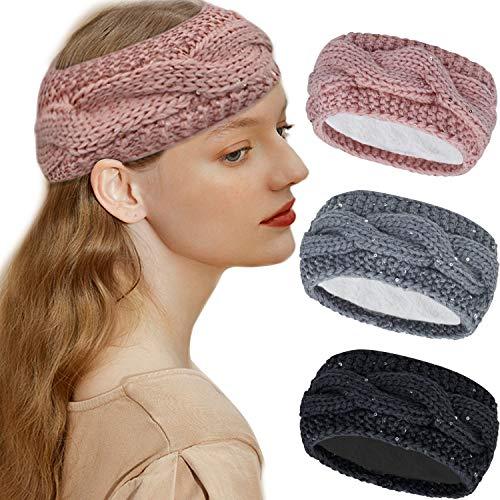 Sporzin Gestrickt Stirnband Damen mit Pailletten und Warmes und Weiches Fleece Innenfutter, Haarband damen Winter Kopfband 1/3 Stück Häkeln Stirnbänder