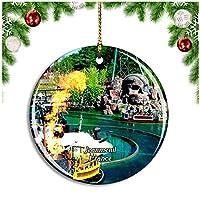 フランス Jeanmenilクリスマスデコレーションオーナメントクリスマスツリーペンダントデコレーションシティトラベルお土産コレクション磁器2.85インチ