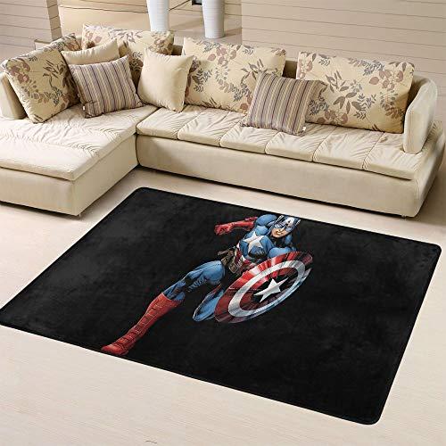 Zmacdk Alfombra de área grande Avengers Infinity para sala de estar, guardería, antideslizante, para habitación de juegos infantil, dormitorio, 180 x 270 cm, Capitán América